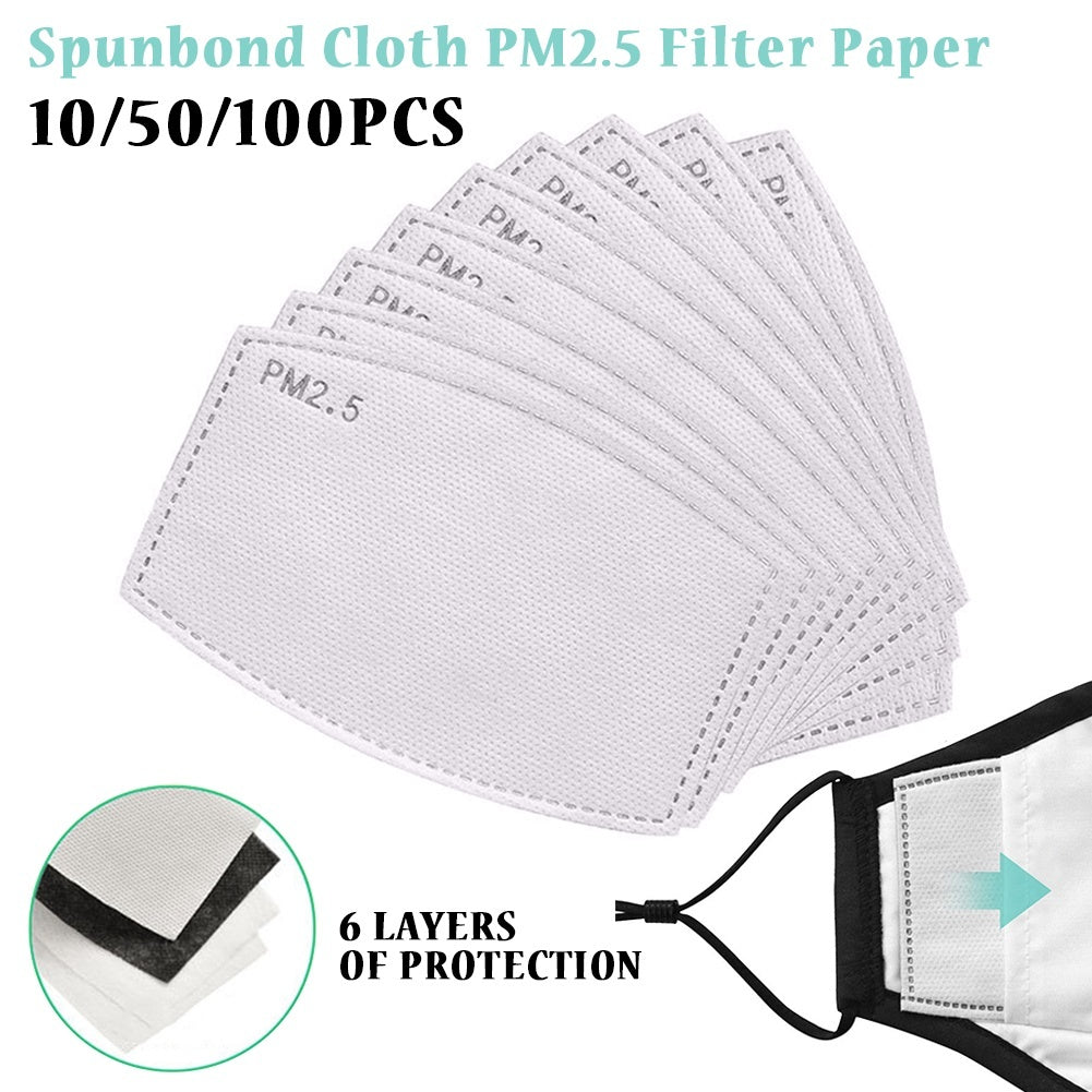 50/30/20/10 PCS Pm2.5 Activated Carbon Filter Mouth Mask Filter Breathing Insert Protective Face Mask Filters For Adult Child