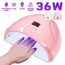 Load image into Gallery viewer, 36W Led Smart Infrared Sensor Uv Sunlight Nail Dryer Lamp Gel Polish Curing Timing Manicure Machine Usb 3 Timers