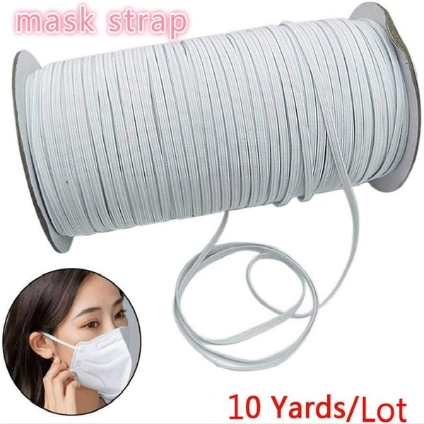 10 Yards Length 3-10mm Width Elastic Band White Briaded Knit Elastic String Cord Heavy Stretch Elastic Band for Sewing Craft DIY for Face Mask