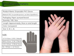 100/300/1000PCS High Quality 100PCS Disposable Pvc Rubber Powder-free Transparent Gloves Thickened