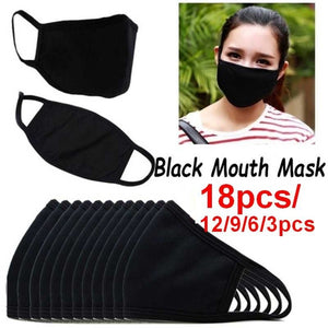 3/6/9/12/18pcs Mouth Face Mask Anti Dust Pollution Cotton Mask Black Washable Reusable Dustproof Respirator Mask Unisex