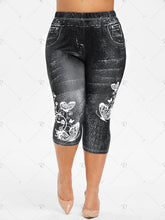 Load image into Gallery viewer, S-5XL Plus Size Butterfly Print Capri Jeggings Women Summer Denim Like Leggings Elastic Waist Pants