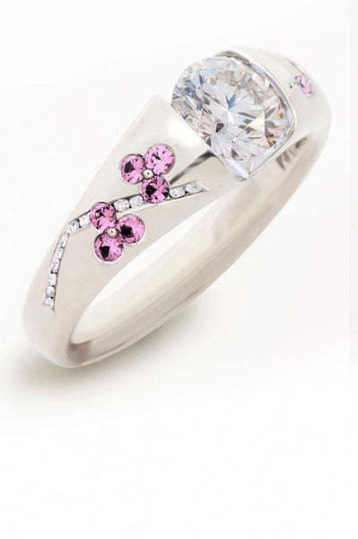 Elegant Women Ladies 925 Sterling Silver Natural Gemstones Pink & White Sapphire Plum Blossom Ring Princess Bride Wedding Engagement Party Jewelry Rings Size 5-10