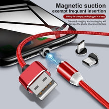 Load image into Gallery viewer, Nylon Braided Magnetic Charging Cable Detachable LED Magnetic Data Cable For IOS / Micro / Type C / USB Fast Charging Cable