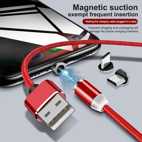 Nylon Braided Magnetic Charging Cable Detachable LED Magnetic Data Cable For IOS / Micro / Type C / USB Fast Charging Cable