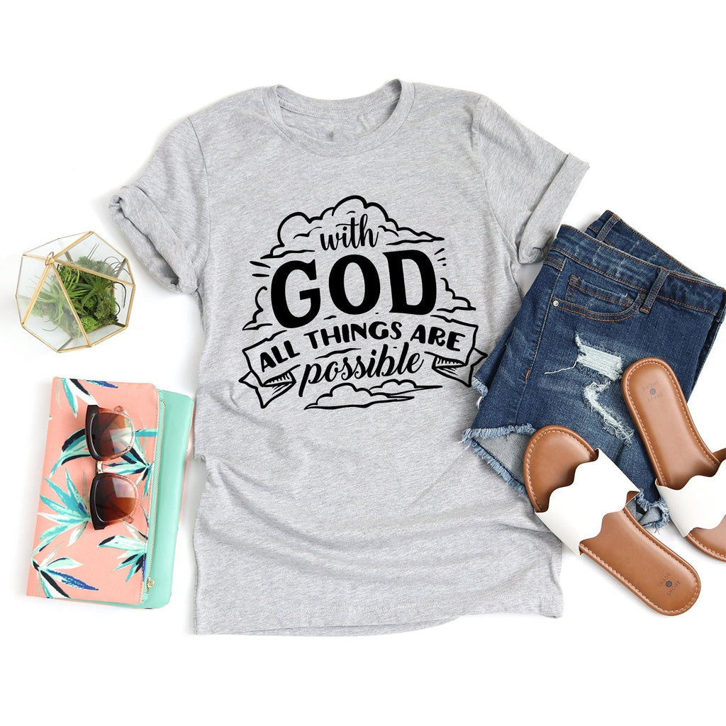 With God All Things Are Possible Christian Religious Jesus Catholic Top T-Shirt 2020 Women's Fashion Short Sleeve Letters Print TEE