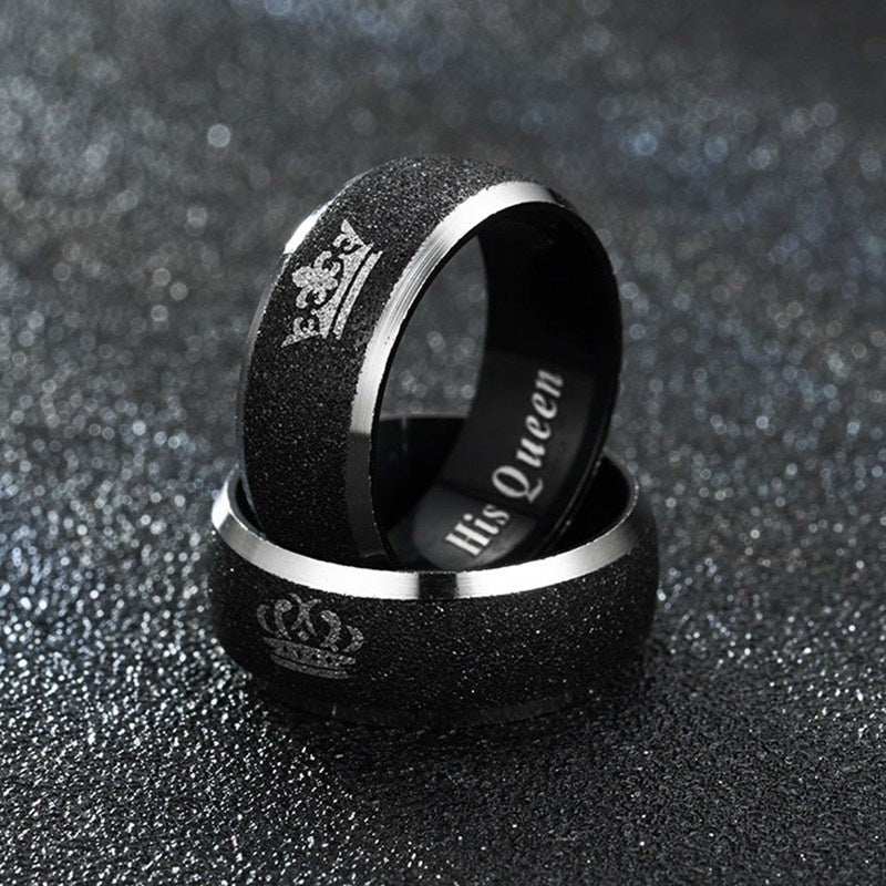 King Queen Couple Ring Letter Printed Crown King And Queen Matte Black Rings Wedding Engagement Ring Jewelry Gift