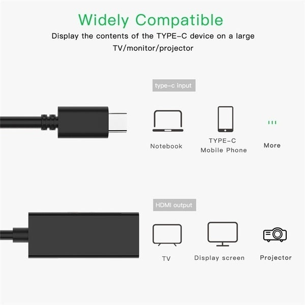 1080P Lightning/Type-c To HDMI Cable , HDMI Adapte for IPhone To TV Digital AV Adaptador Kabel Phone Accessories for IPhone IPad IOSe