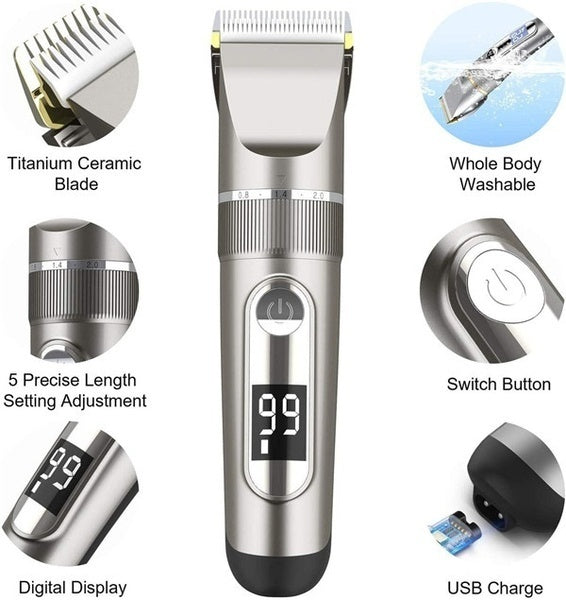 Cordless Hair Clipper Rechargeable Led Display Professional Trimmer Shaver