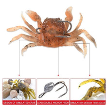 Load image into Gallery viewer, Fishking1 PCS Artificial Fishing Crab Lure 3D Simulation Soft Fishing Bait with Hook