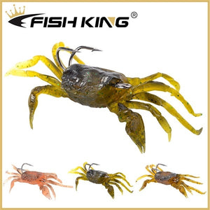 Fishking1 PCS Artificial Fishing Crab Lure 3D Simulation Soft Fishing Bait with Hook