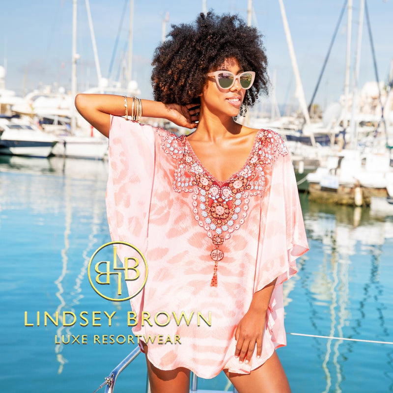 Designer Pink Kaftan Tops by Lindsey Brown