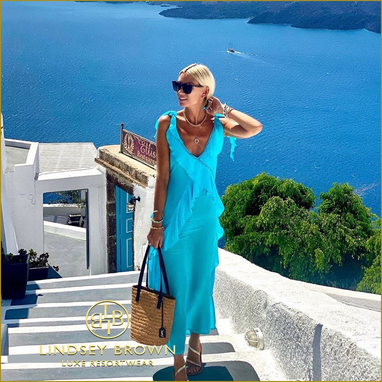 AnnaMavridis wears Turquoise Maxi Dress in Santorini
