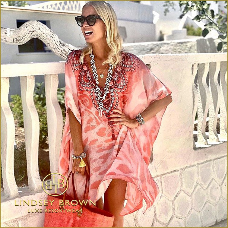 Anna Mavridis Spotted Wearing Pink Animal Print Kaftan