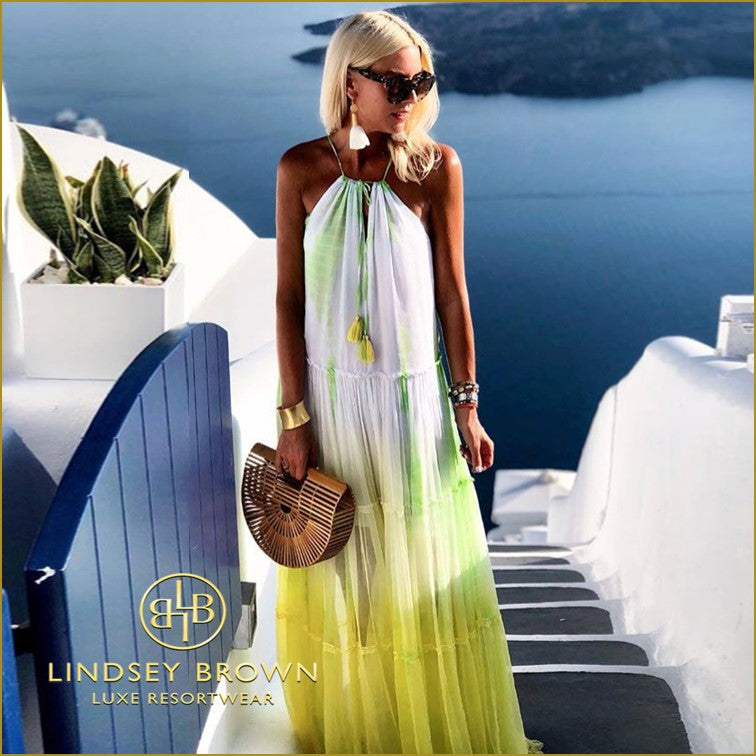 Anna Mavridis Wears Yellow Maxi Dress in Santorini