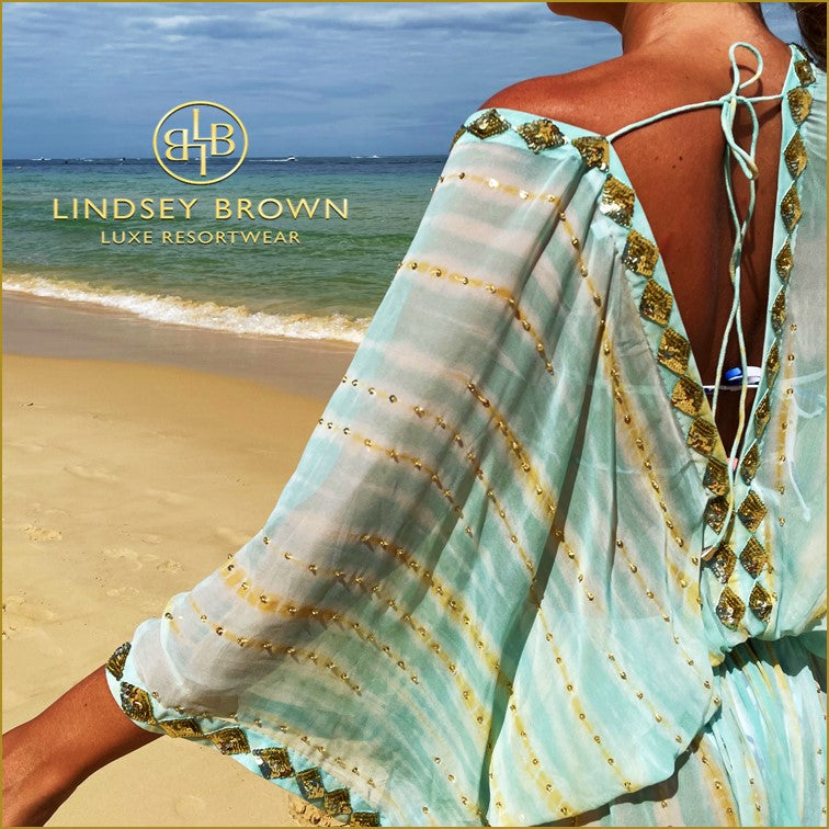 Silk Tie Dye Designer Kaftans worn by Gemma White by Lindsey Brown