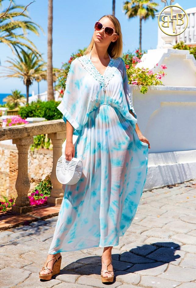 Shop stunning Sky Blue Rio Maxi Kaftan Silk Dress