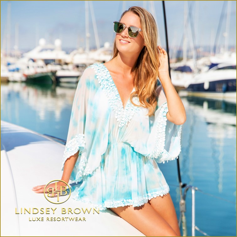Blue Silk Desigener Kaftan top by Lindsey Brown Resort wear
