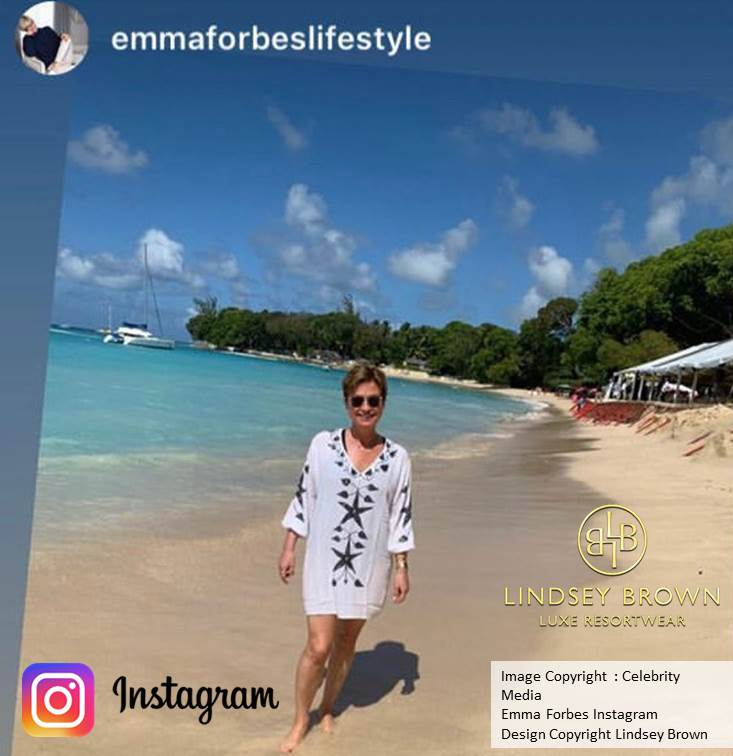 Emma Forbes wearing white Monaco kaftan in white by Lindsey Brown
