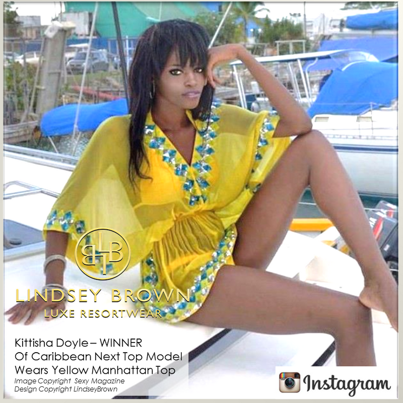 Kittisha Doyle wearing Yellow silk Manhattan top by Lindsey Brown resort wear