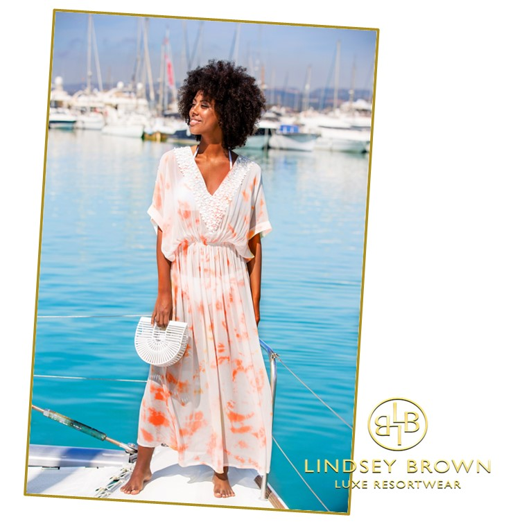Shop Rio Papaya Silk Beach Cover Ups by Lindsey Brown Resort Wear