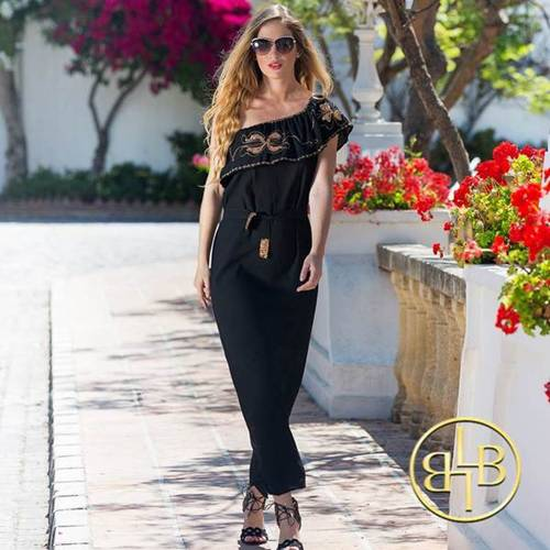 Black and Gold One Shoulder Portia Holiday Dress by Lindsey Brown