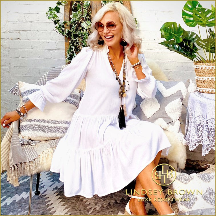 White Cotton Smock Dress to Wear on Holiday by Lindsey Brown Resort Wear