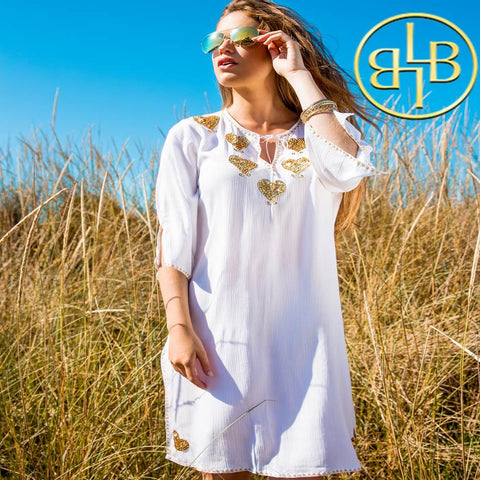 Amore plus size White and gold kaftan by Lindsey Brown