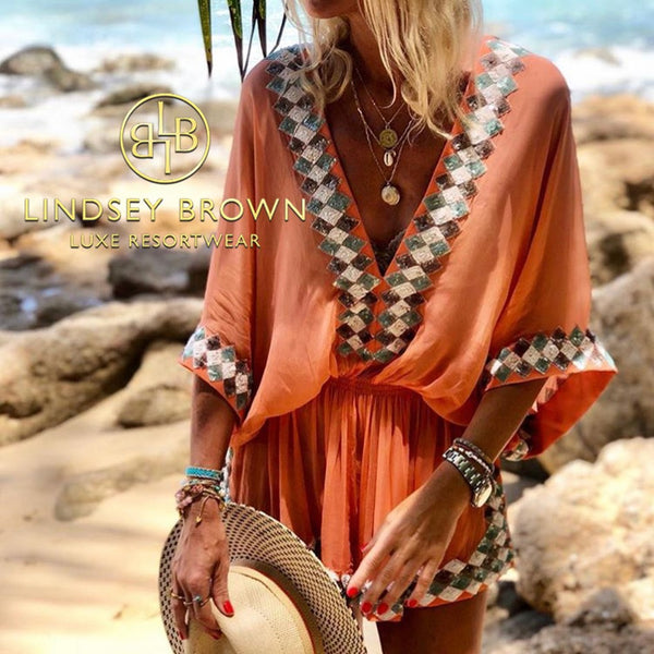 Anna Mavridis seen wearing the Manhattan Designer Kaftan top by Lindsey Brown Resortwear
