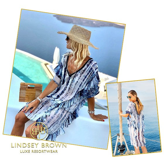 Anna Mavridis wears Lindsey Brown resort wear Tie Dye kaftan dress in Santorini