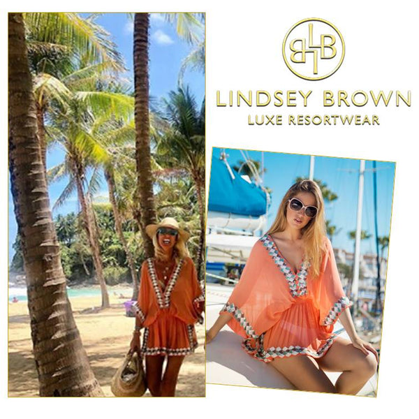 Anna Mavridis wears Orange Designer beach cover-up in Thailand by LindseyBrown resort wear
