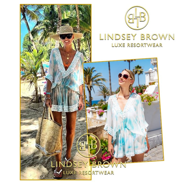 Anna Skoog Blue White Silk Kaftan dress by Lindsey Brown resort wear Anna Mavridis