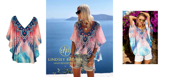 Anna Mavridis wearing pink palm print top by Lindsey Brown