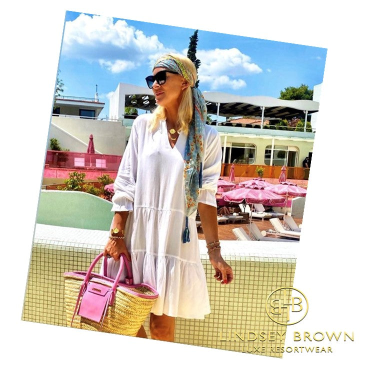 Anna Marvridis, seen wearing our White Summer Smock dress