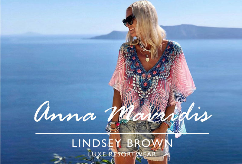 Anna Skoog Anna Mavridis wears designer resort wear designer kaftans by Lindsey brown