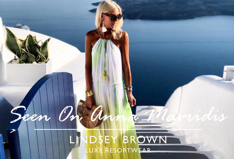 Shop Designer Maxi Dresses worn by Anna Mavridis by Lindsey Brown in Santorini