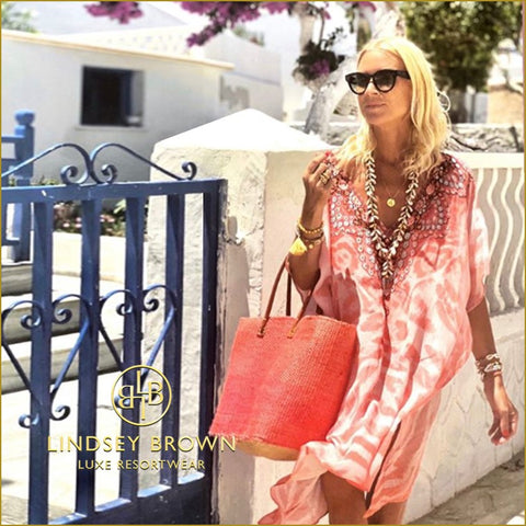 Anna Mavridis Wearing Pink Animal Print Kaftan
