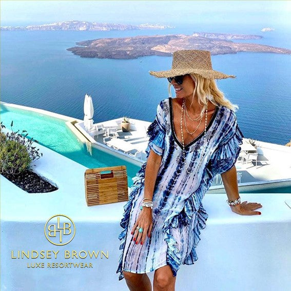 Anna Mavridis wears TieDYe Kaftan Dress in Santorini