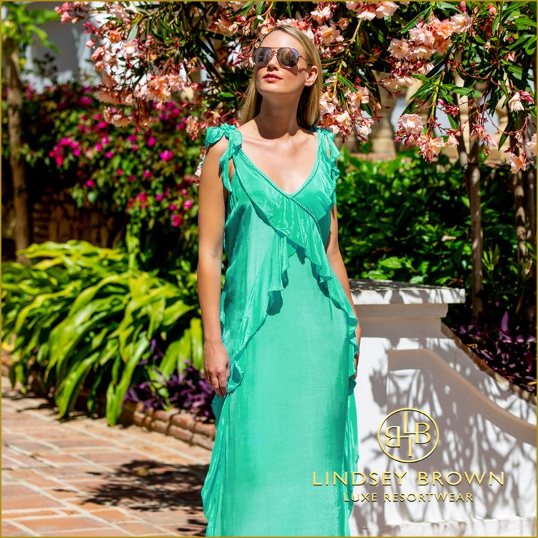 Floaty Green Silk Midi Dress Wedding Guest Outfit by Lindsey Brown