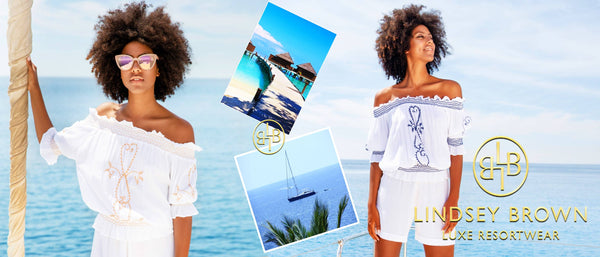 Shop Bardot Holiday Tops by LindseyBrown Resortwear  for a luxury holiday Free Worldwide shipping