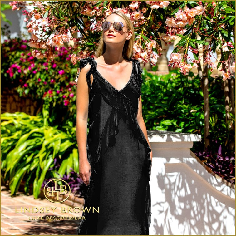 Best Floaty Black Summer Maxi Dress to wear on Holiday by Lindsey Brown