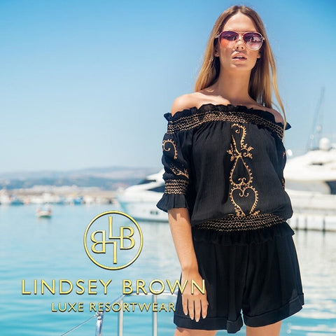 Shop Bardot Black Top by Lindsey Brown Resortwear