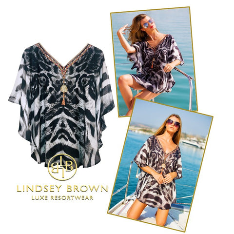Black Animal Print Cotton Kaftan Top see in Sunday Times Travel Magazine by Lindsey Brown
