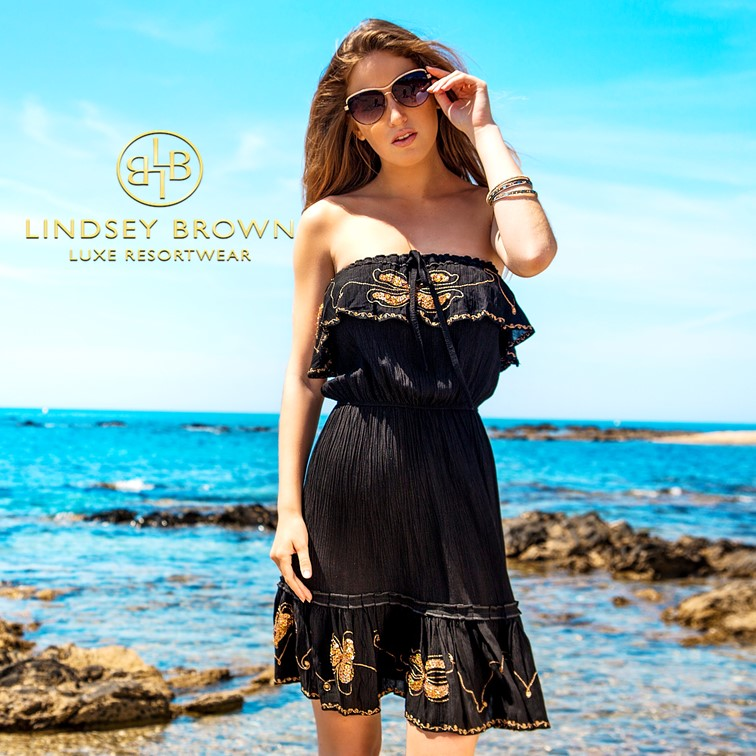 Atheni Cotton Strapless Holiday Dress by Lindsey Brown
