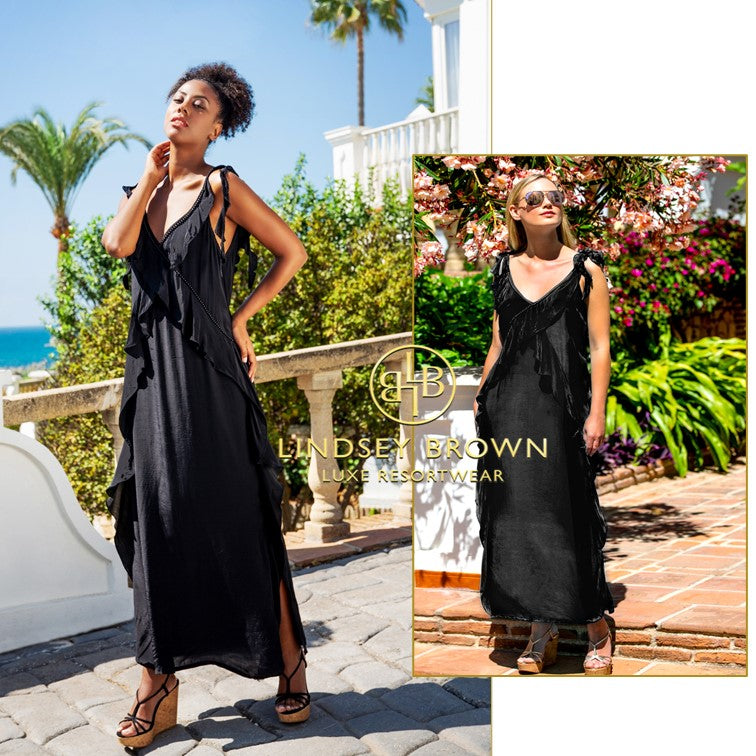 Antigua Silk Maxi Holiday Dress Perfect for Greece by Lindsey Brown