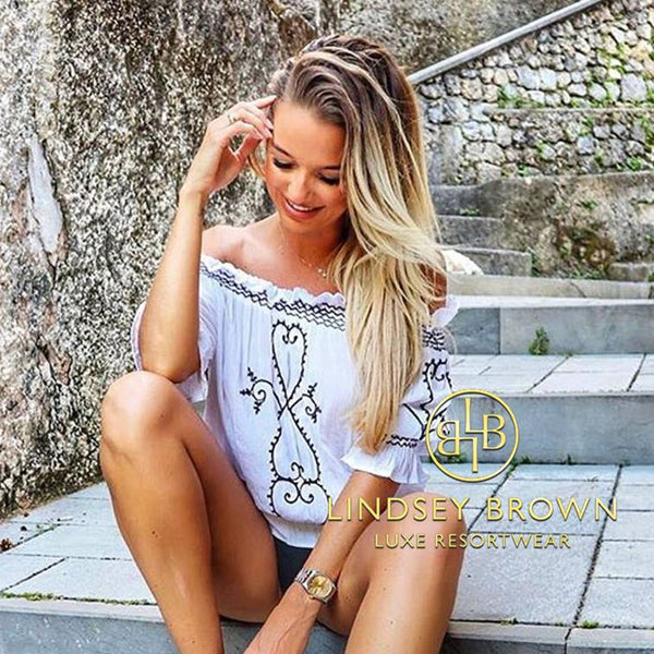 Shop White Bardot Top worn by Amor Lifestyle Blogger Sam Hoy