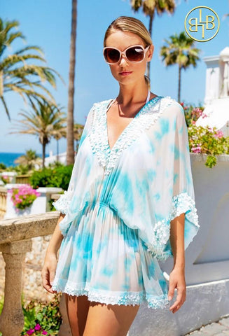 Sky Blue Floaty Designer Silk Kaftan Top
