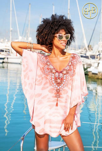 Blush Rose Gold Kaftan Designer Top by Lindsey Brown Resortwear