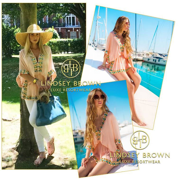Adela King Spotted wearing Designer Kaftan Top Manhattan by LindseyBrown Resort wear