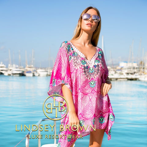 Pink Printed Cover-up to wear on a Caribbean Cruise Holiday by Lindsey Brown Resortwear